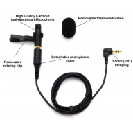 Special! Low noise Uni-Directional (cardioid) lapel microphone with detachable cable - No Batteries needed - Made in USA