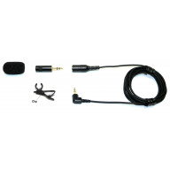 Ultra low noise Omnidirectional convertible lapel microphone with clip and windscreen - works as lapel mic or plug-in mic without cable - Made in USA
