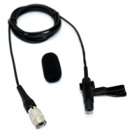 Ultra low noise Omnidirectional lapel microphone for Audio Technica wireless systems with rotating clip and windscreen - Made in USA