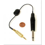 1/4 inch male to 3.5mm (1/8 inch) male variable attenuator cable - can be used for mono or stereo - 8 inches long