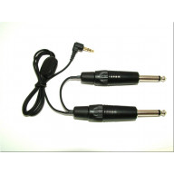 1/4 inch male (mono or stereo) to 3.5mm (1/8 inch) male variable attenuator cable - mono or stereo - 8 inches