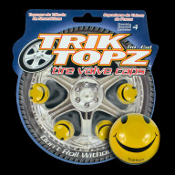 Smiley Face Valve Cap Yellow (4 Pack)