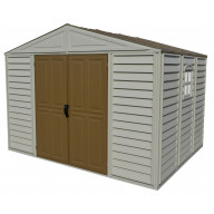 Model 20224 (WoodBridge Shed) this is a non-extendable 10.5x8Adobe colored shed (with brown roof & doors)