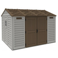 Model 30116 (Apex w/foundation) this is a non-extendable 10.5x8Adobe colored shed (with brown roof & doors)