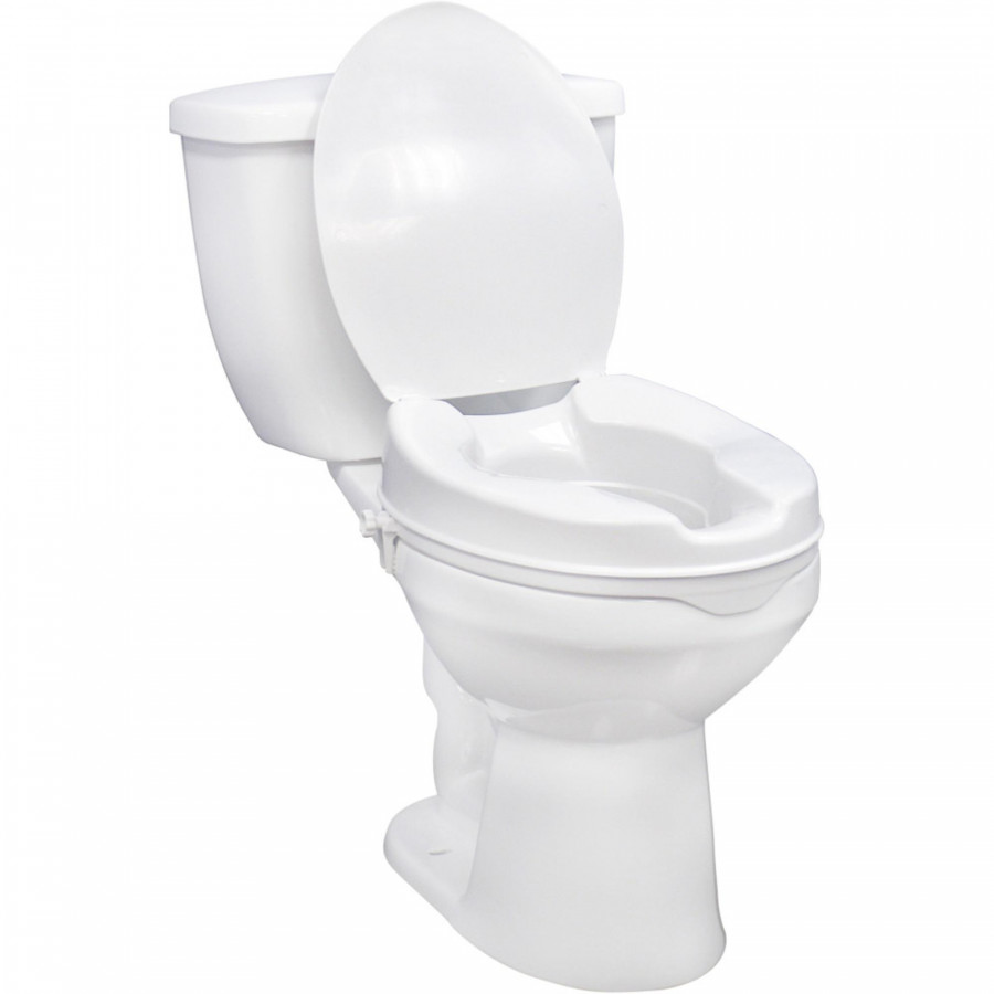 Drive Medical Raised Toilet Seat with Lock and Lid , White, 2