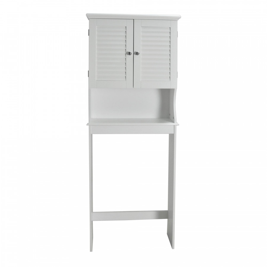 Contemporary Country Louvered Doors Space Saver, White