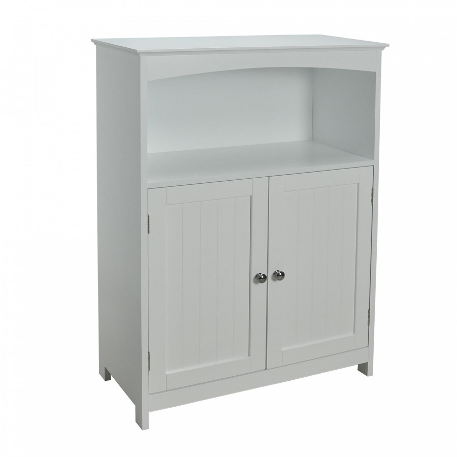 Contemporary Country Double Door Cabinet with Open Shelf, White
