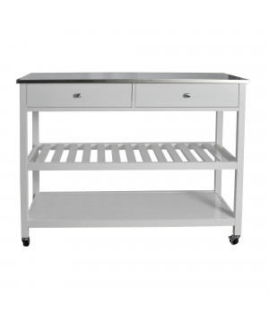 Mobile Kitchen Island With Two Large Open Shelves, Two Drawer, Stainless Steel Top, White