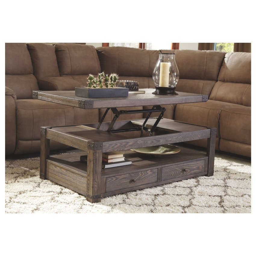 Ashley Furniture Distressed Coffee Table: Ashley T830-9 Tamonie Reclinert Lift Top Cocktail Table