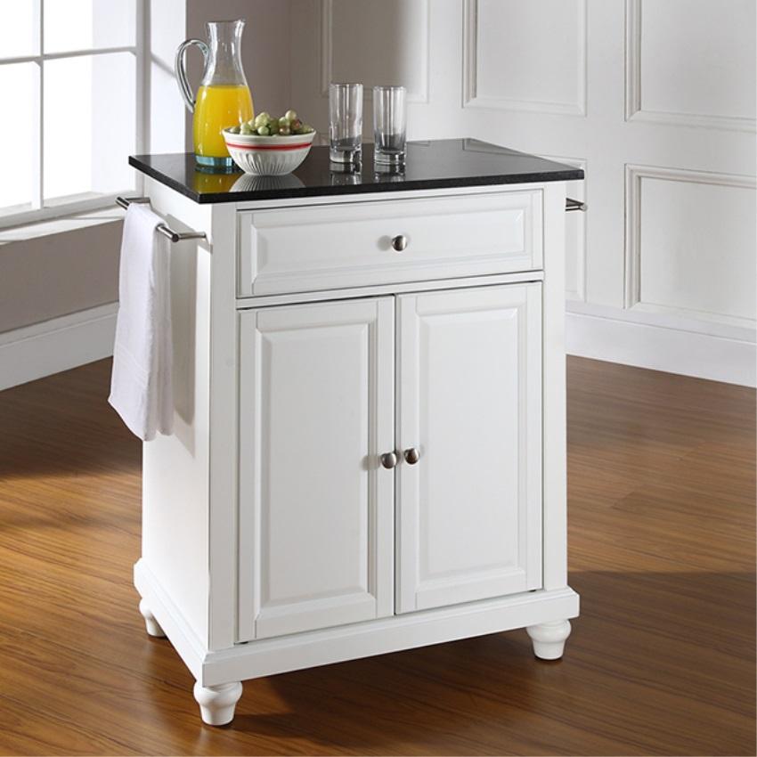Cambridge Solid Black Granite Top Portable Kitchen Island In Classic Cherry F Ebay