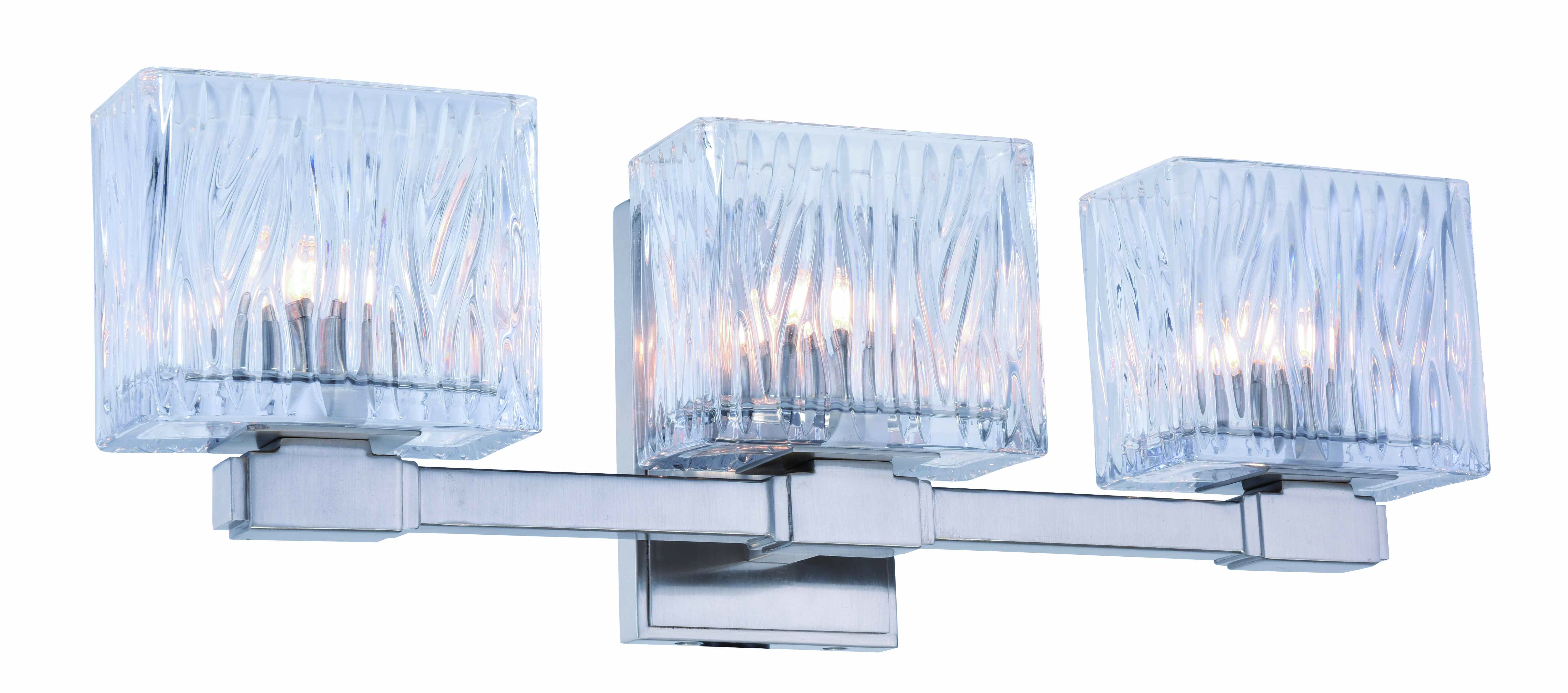 Torrent Collection 3-Light Burnished Nickel Finish Wall Sconce, Vanity