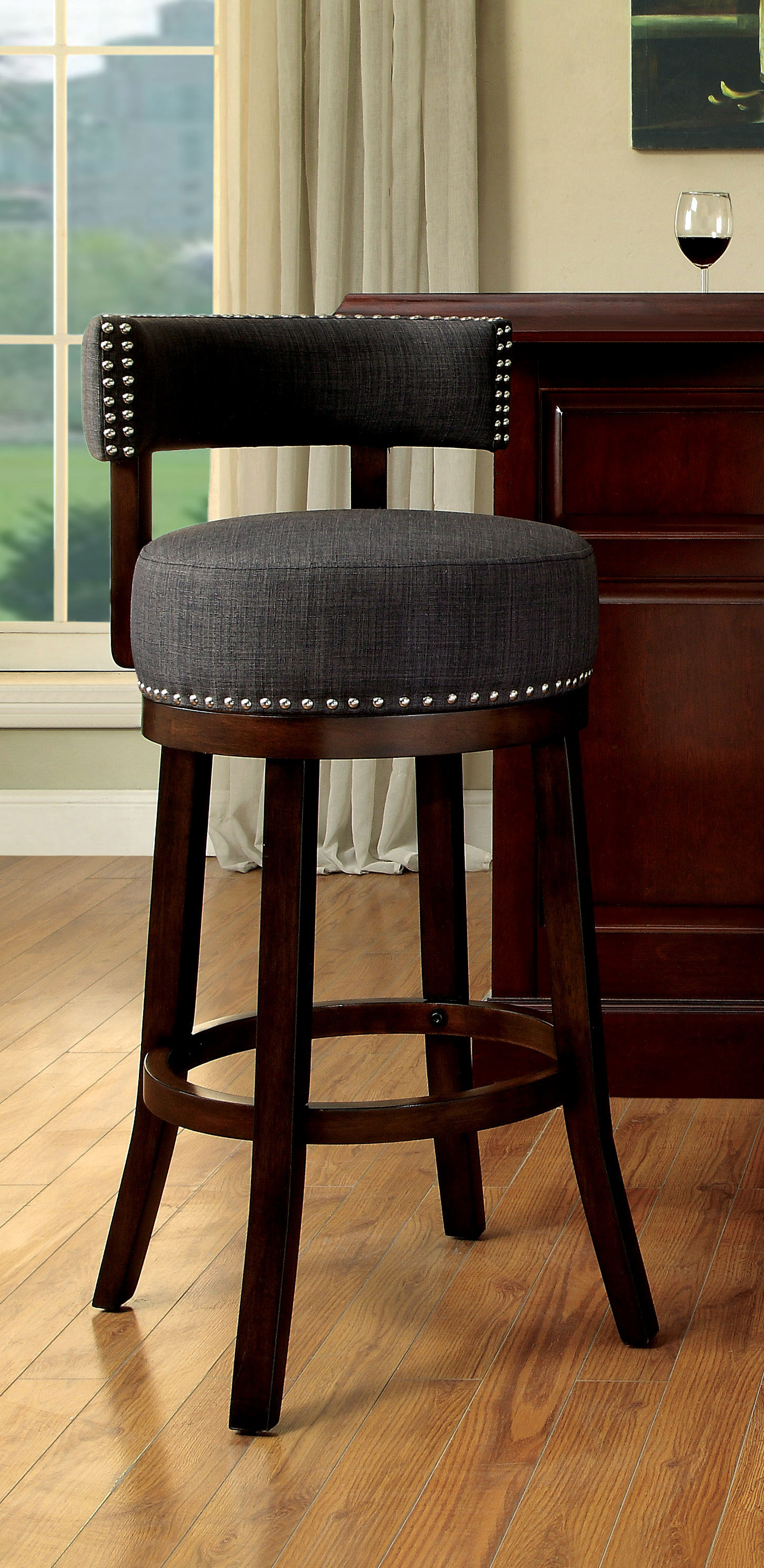 Macia Fabric 24 Swivel Bar Stool Contemporary Style Ebay