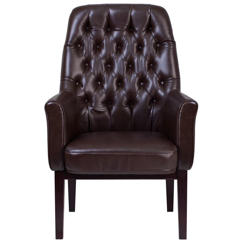 High Back Traditional Tufted Leather Side Reception Chair