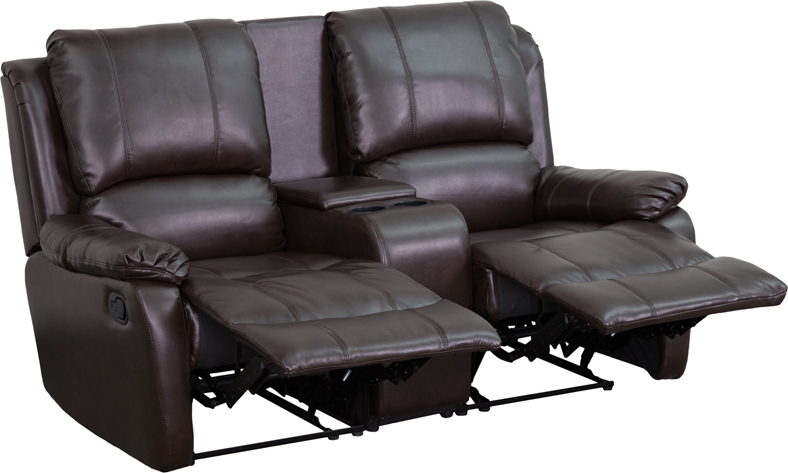 Allure Series 2-Seat Reclining Pillow Back Brown Leather Theater ...