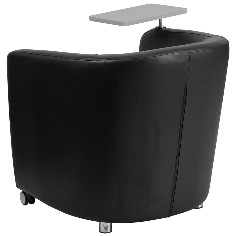 Leather Guest Chair With Tablet Arm Front Wheel Casters