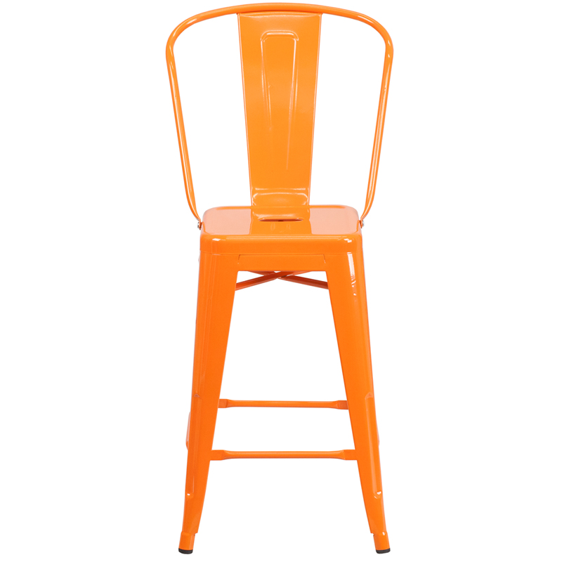 Details About 24 High Metal Indoor Outdoor Counter Height Stool With Back Ch 31320 24gb