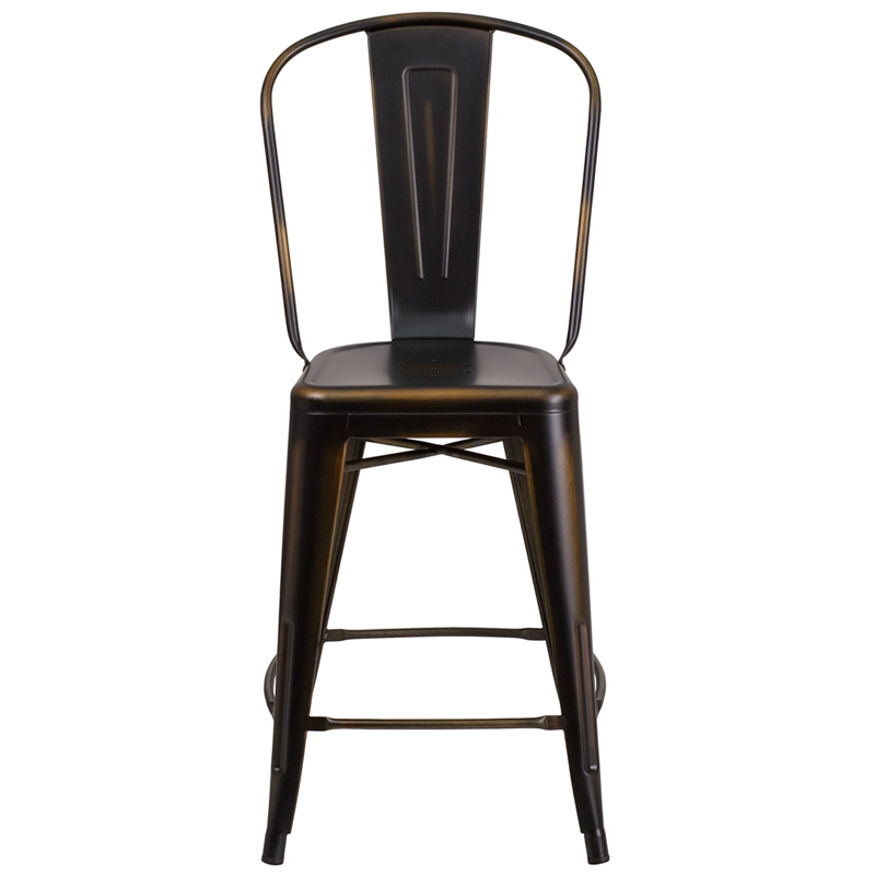 Swell Details About 24 High Distressed Green Blue Metal Indoor Outdoor Counter Height Stool Wit Dailytribune Chair Design For Home Dailytribuneorg
