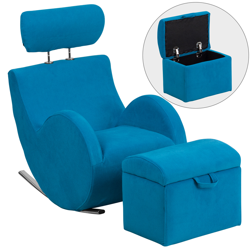 sc 1 st  virventures.com & Series Turquoise Blue Fabric Rocking Chair with Storage Ottoman