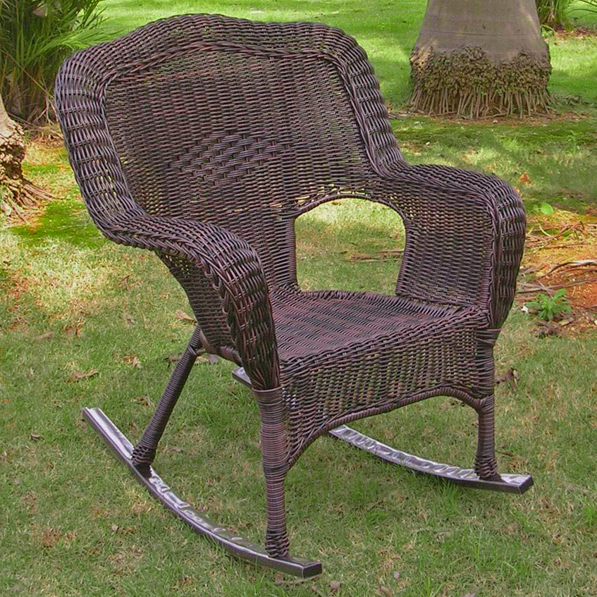 maui camelback resin wicker steel outdoor rocking chair set of 1 mocha ebay. Black Bedroom Furniture Sets. Home Design Ideas