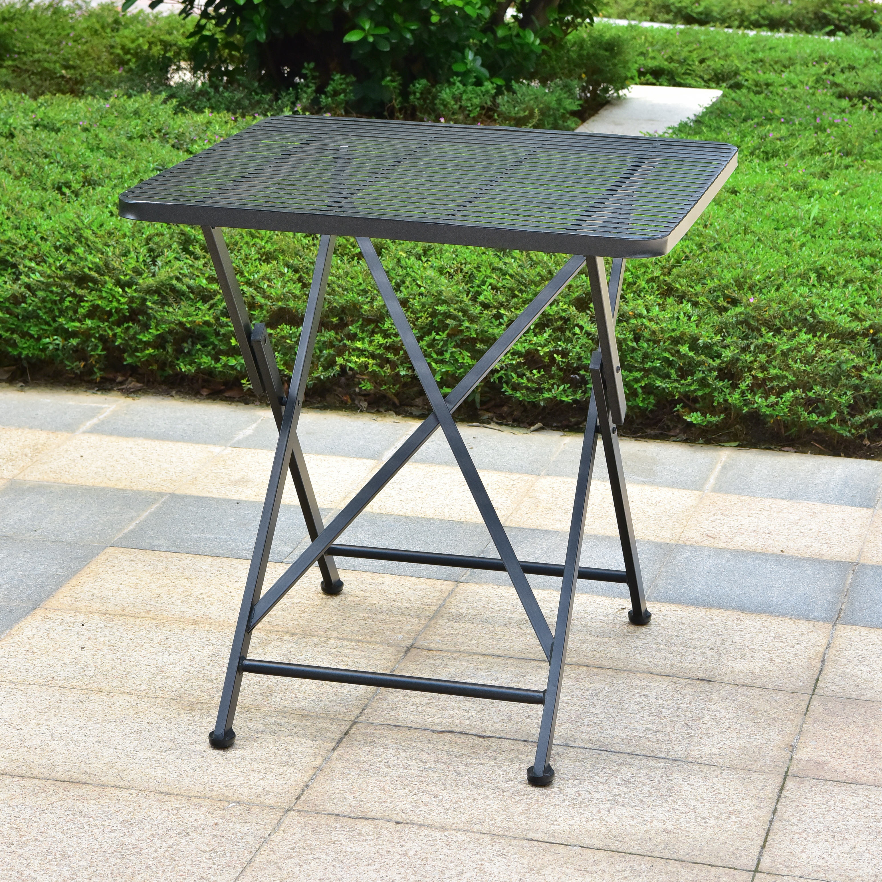 Image Is Loading Mandalay Outdoor Iron 28 Inch Folding Square Bistro