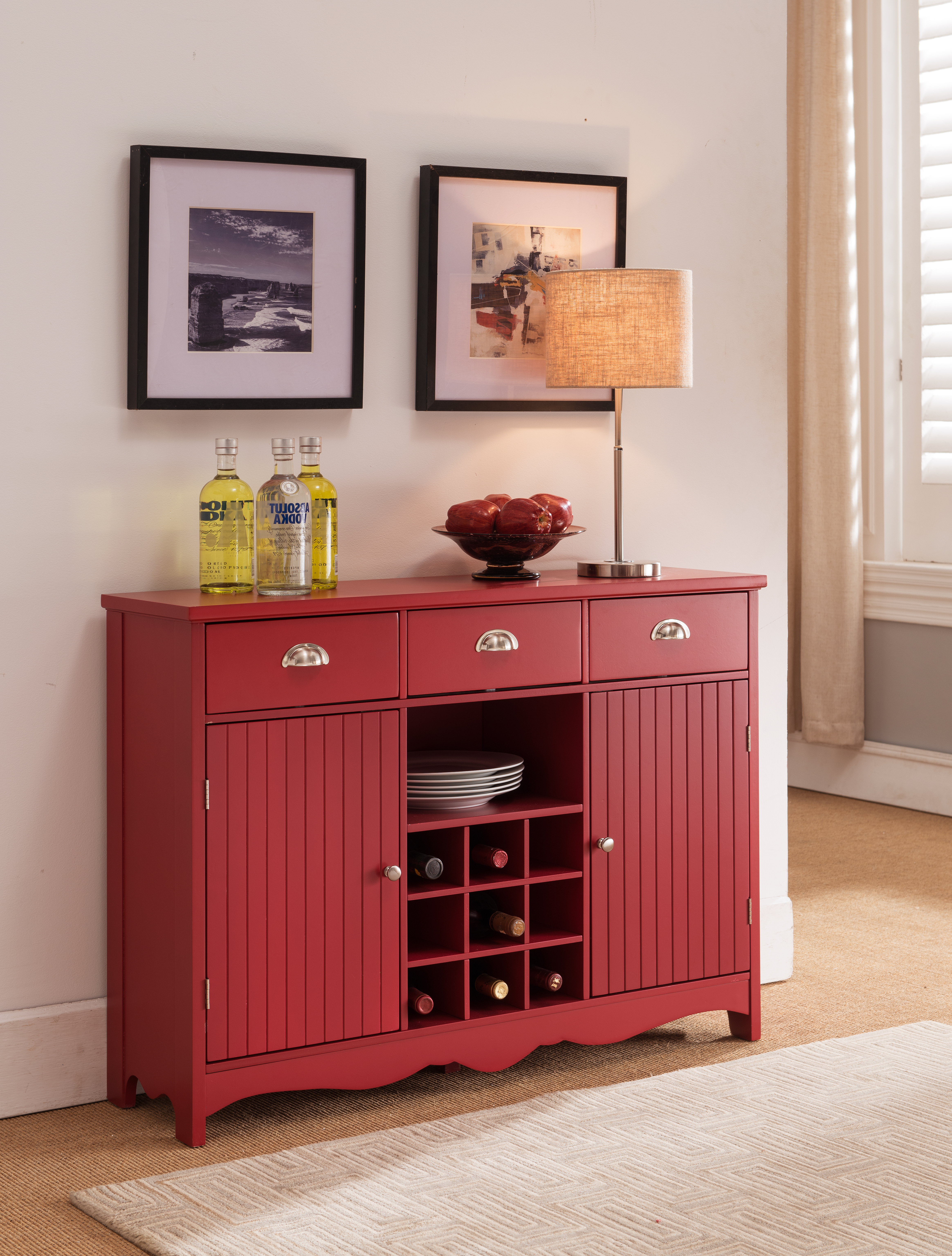Red Wood Wine Rack Sideboard Buffet Display Console Table With