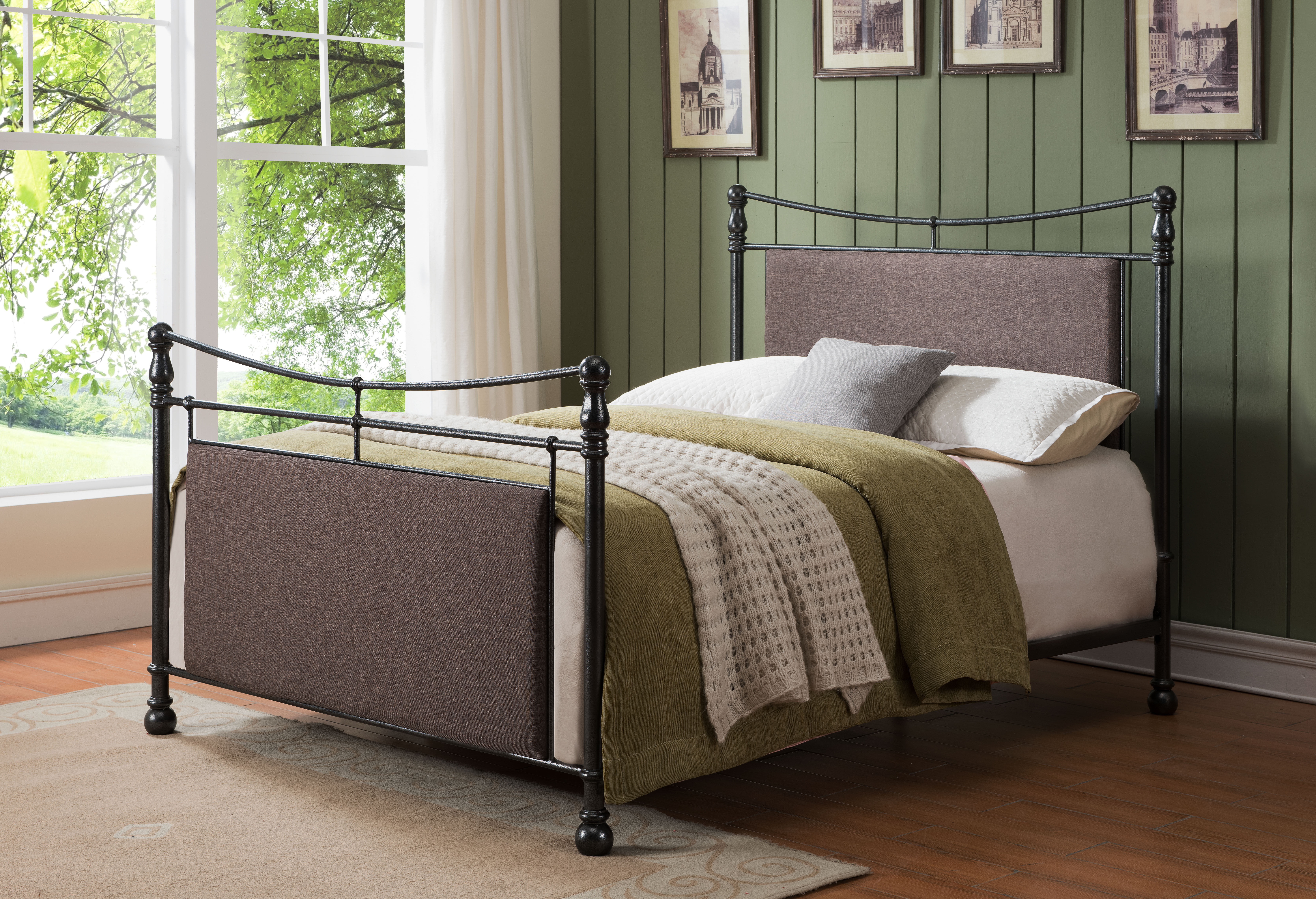 Image is loading pewter brown queen size upholstered fabric metal bed