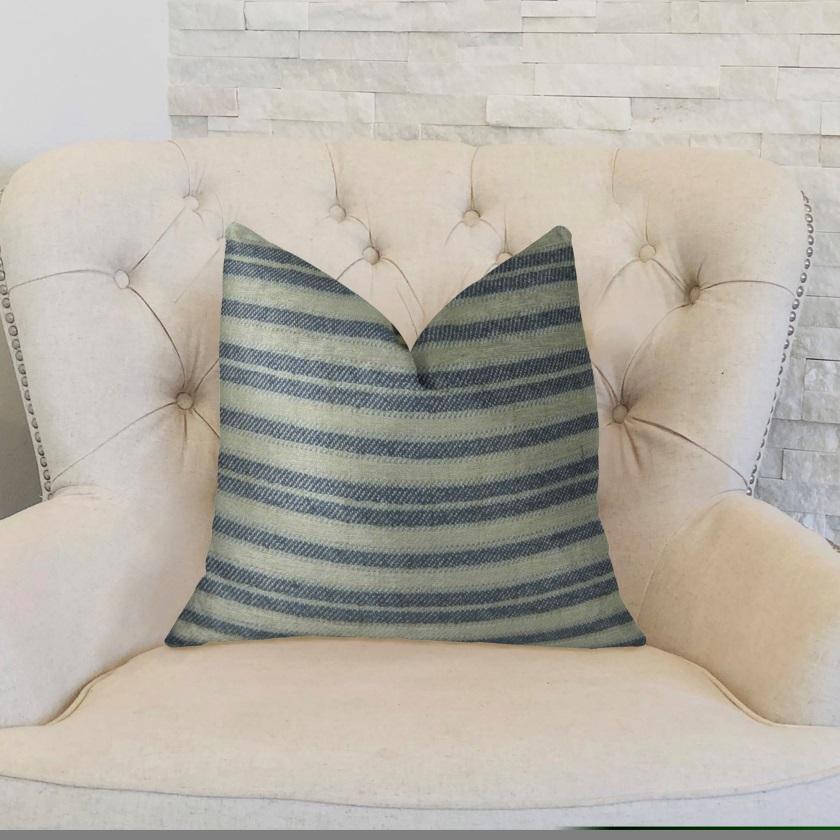 Plutus Stone Manor Indigo Handmade Throw Pillow 26  x 26