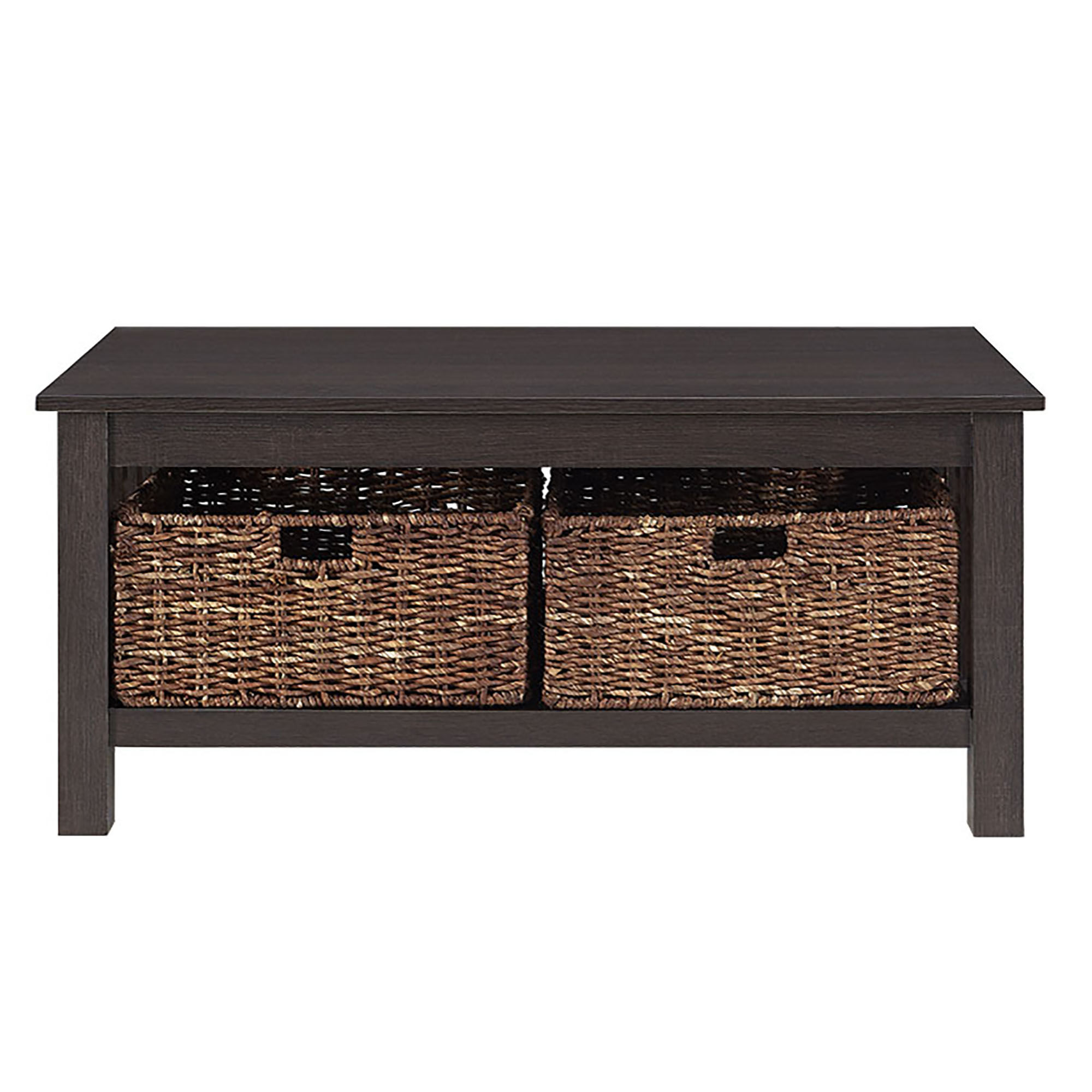 "Espresso Coffee Table With Storage: 40"" Wood Storage Coffee Table With Totes - Driftwood"