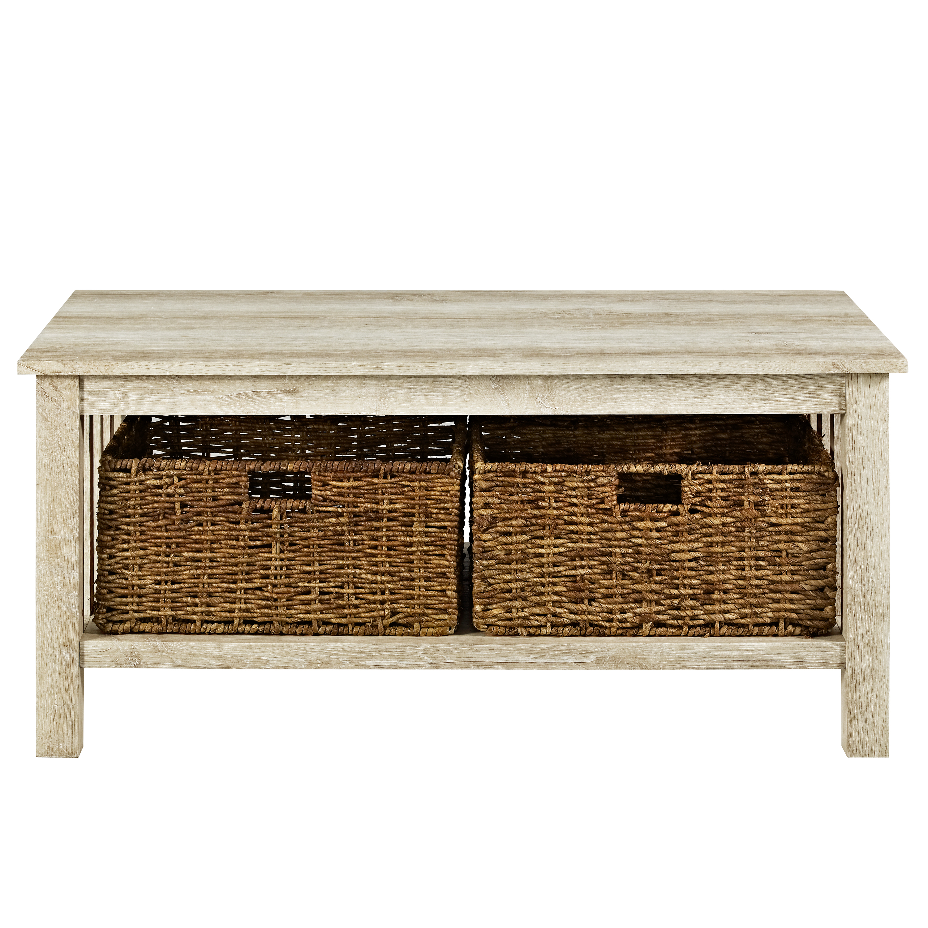 """40 Square Driftwood Coffee Table: 40"""" Wood Storage Coffee Table With Totes - Driftwood"""