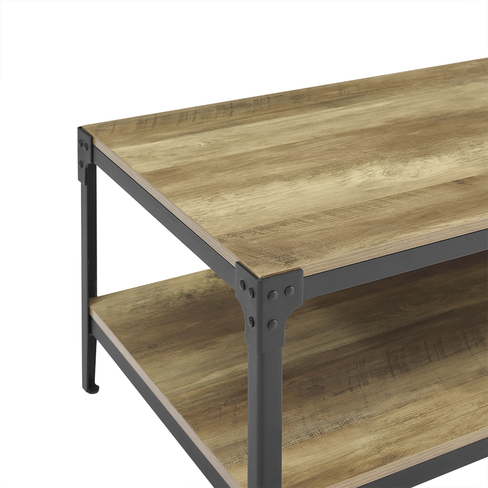 Rustic Wood And Metal Coffee Tables: Angle Iron Rustic Wood Coffee Table - Driftwood