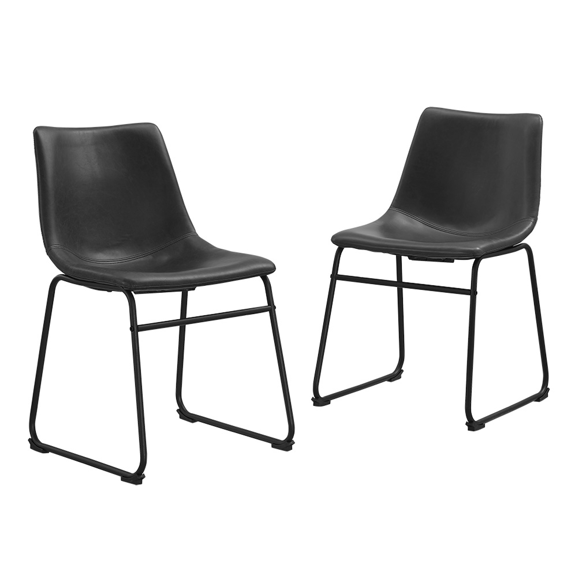 black leather dining room chairs | Black Faux Leather Dining Chairs - Set of 2 814055025495 ...