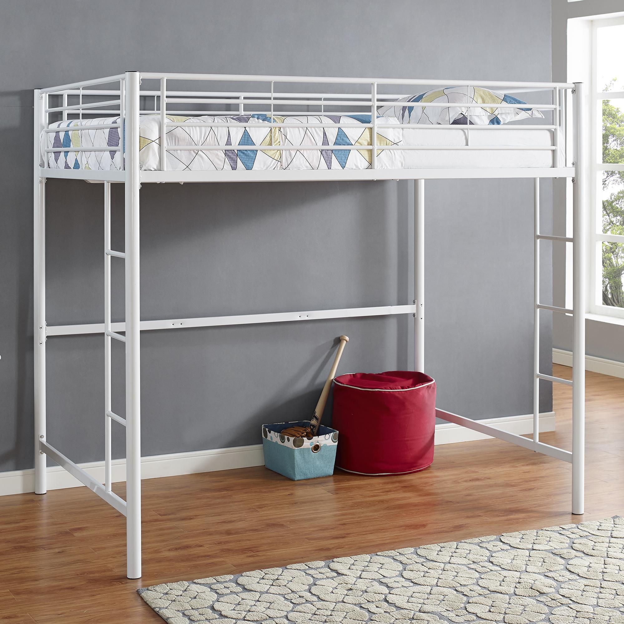 Cama de metal de tamaño completo Loft Premium-blancoo