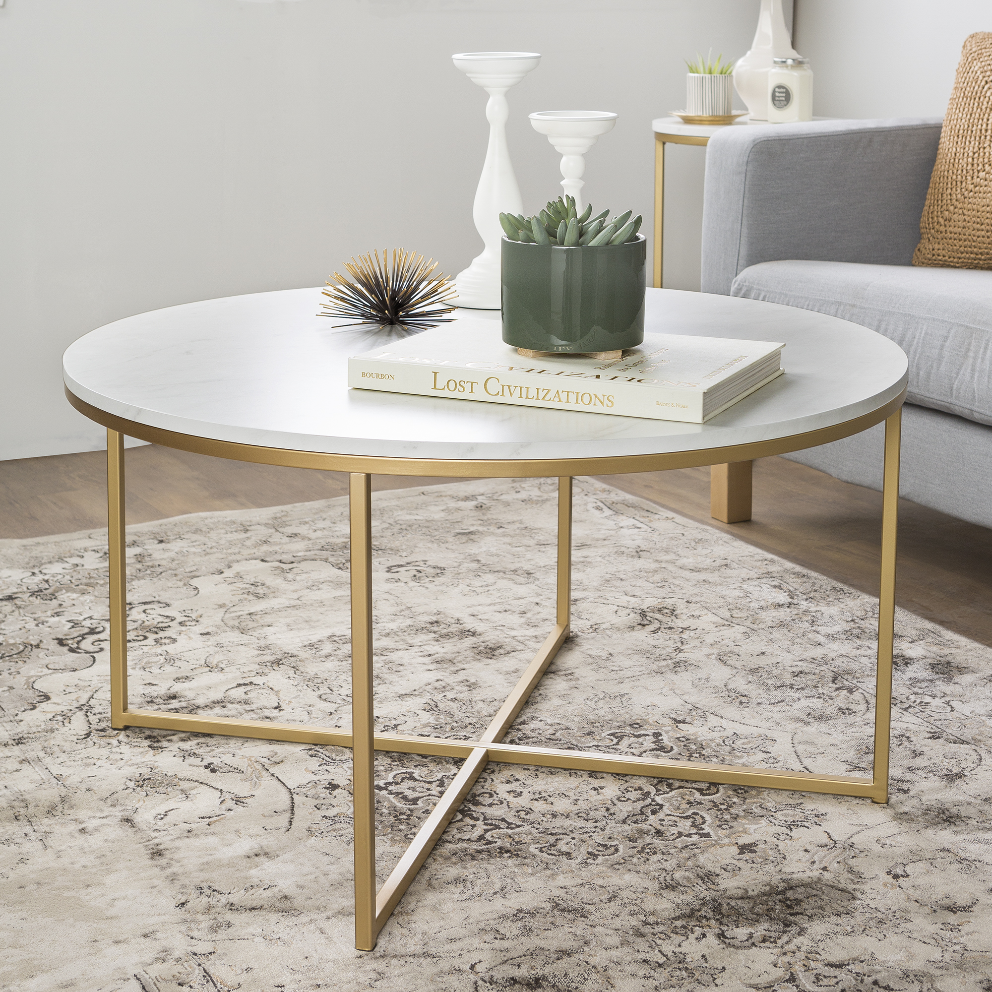 """Ebay Coffee Table Bases: 36"""" Coffee Table With X-Base - Glass/Gold"""