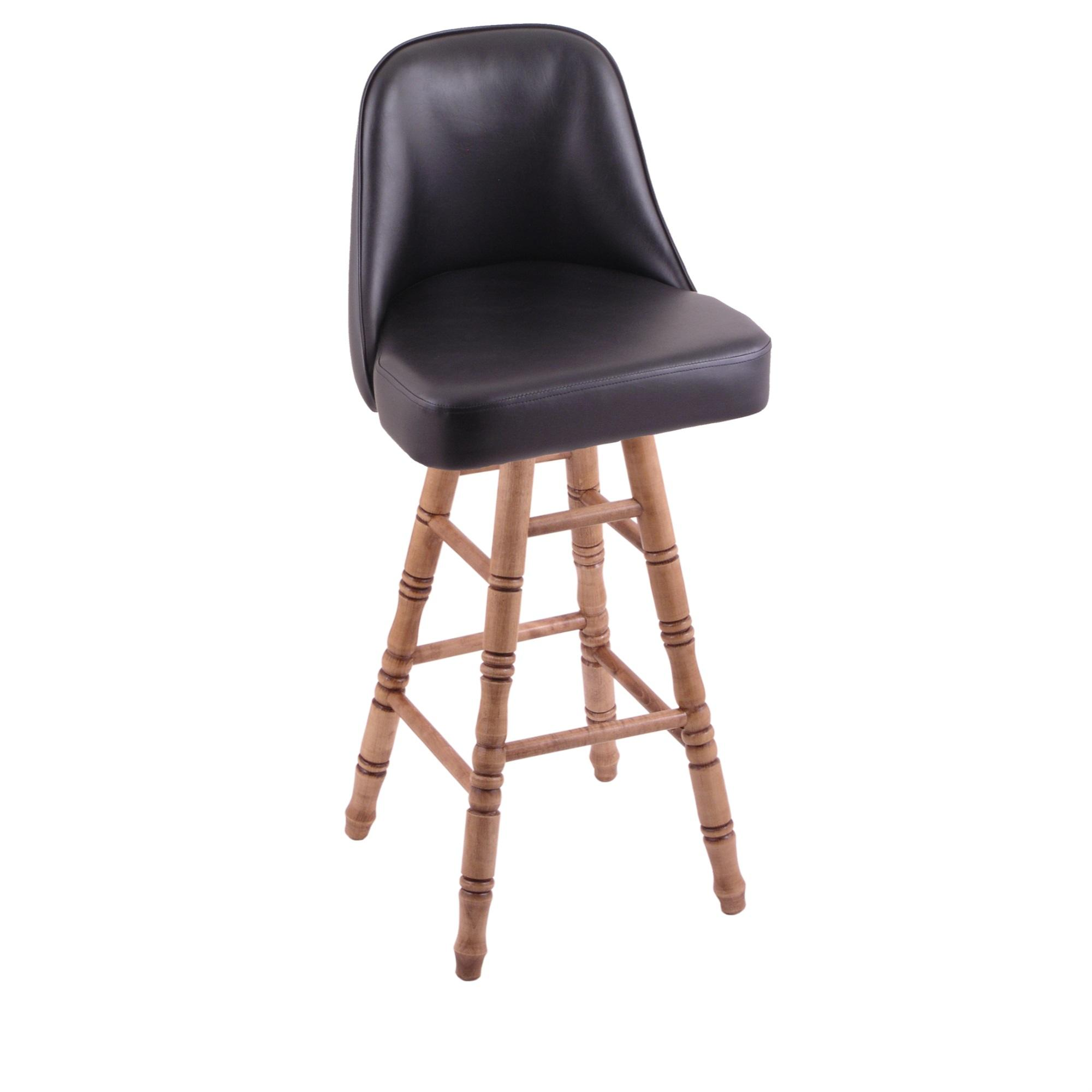 Grizzly Counter Stool with Turned Maple Legs, Medium Finish, and 360 Swivel