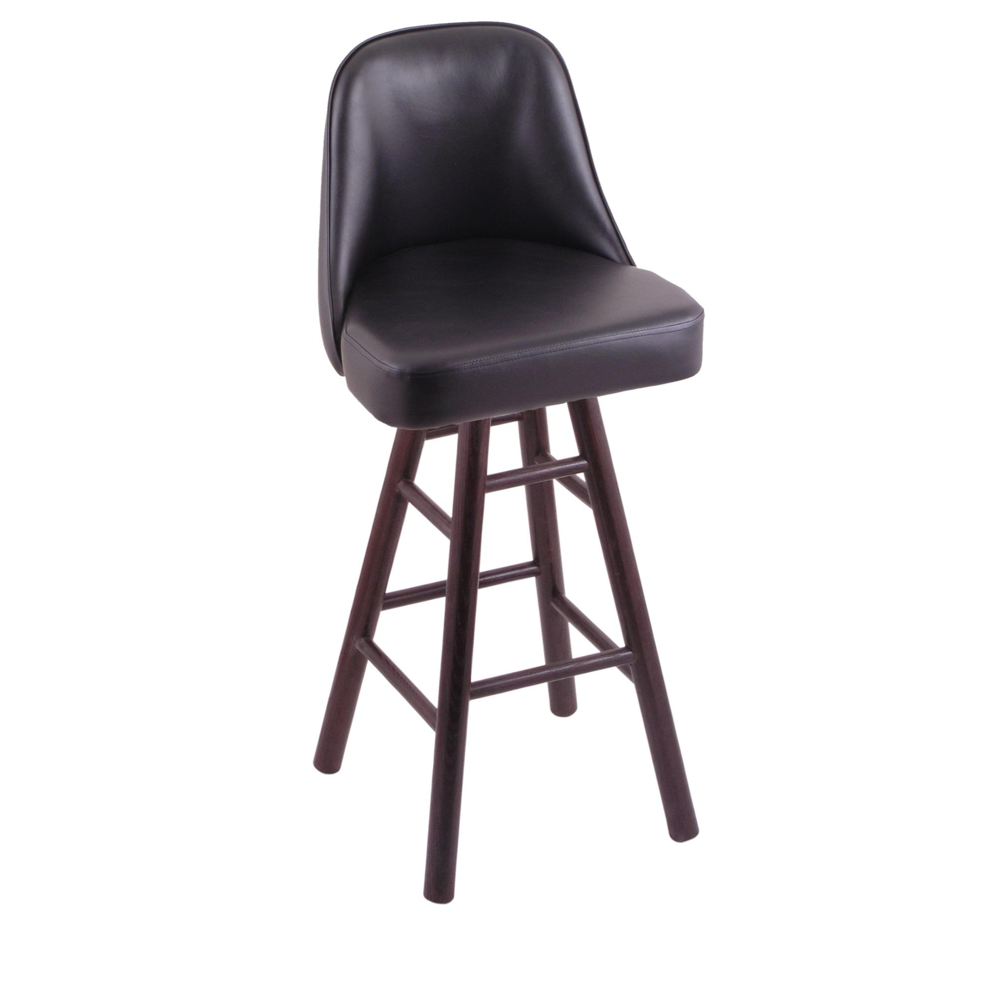 Grizzly Counter Stool with Smooth Oak Legs, Dark Cherry Finish, and 360 Swivel