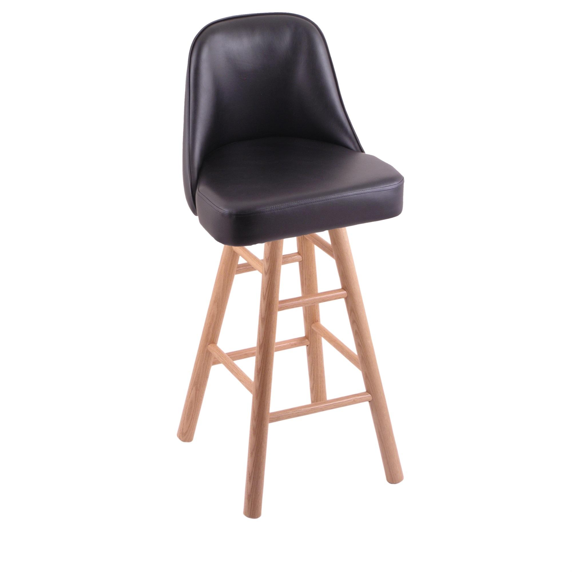 Grizzly Counter Stool with Smooth Oak Legs, Natural Finish, and 360 Swivel