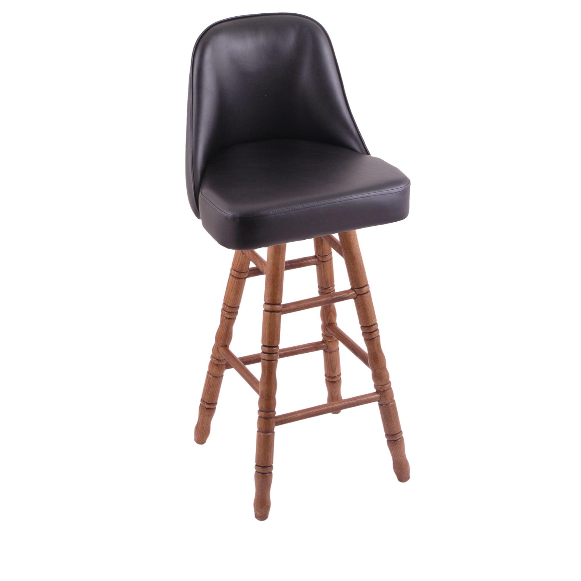 Grizzly Counter Stool with Turned Oak Legs, Medium Finish, and 360 Swivel