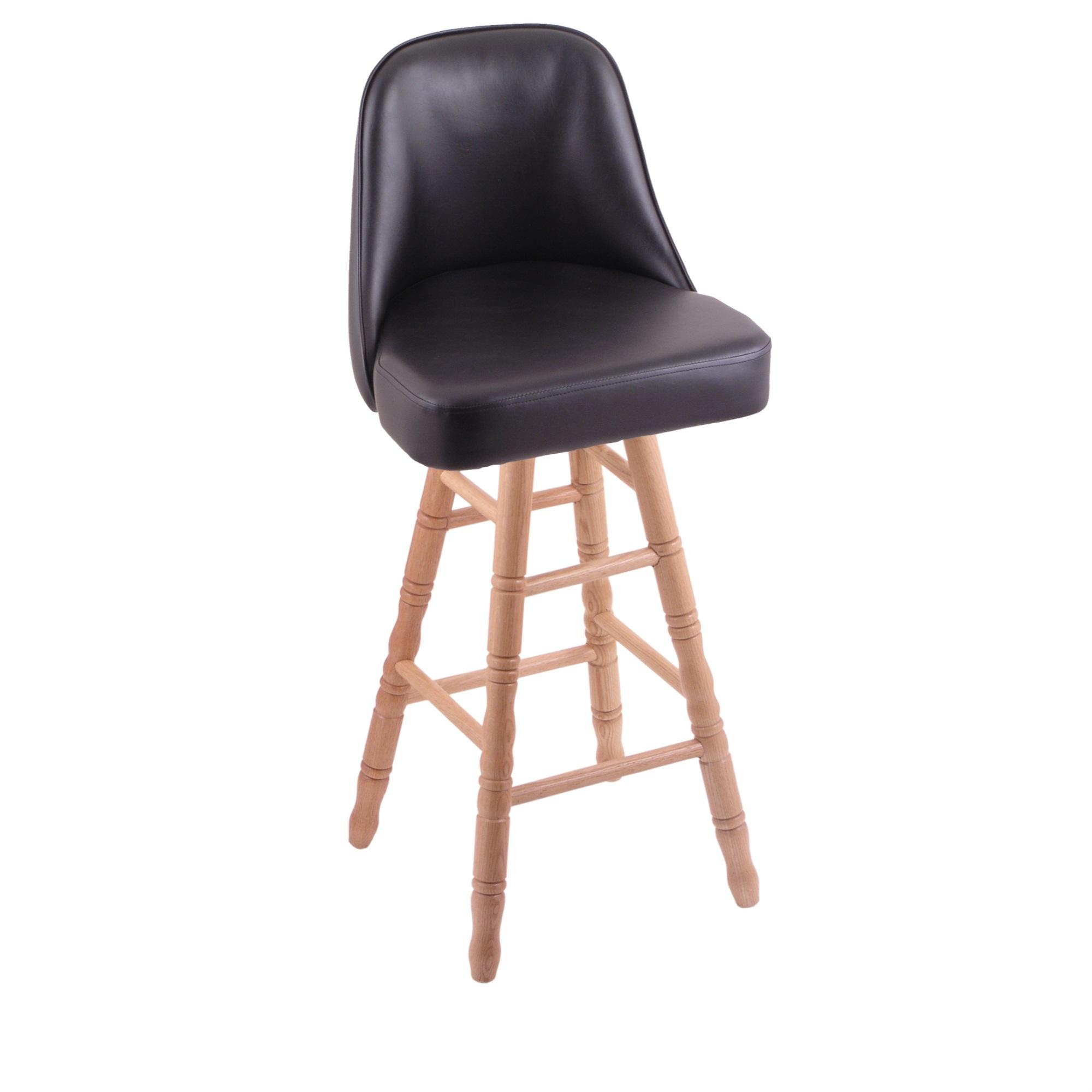 Grizzly Counter Stool with Turned Oak Legs, Natural Finish, and 360 Swivel