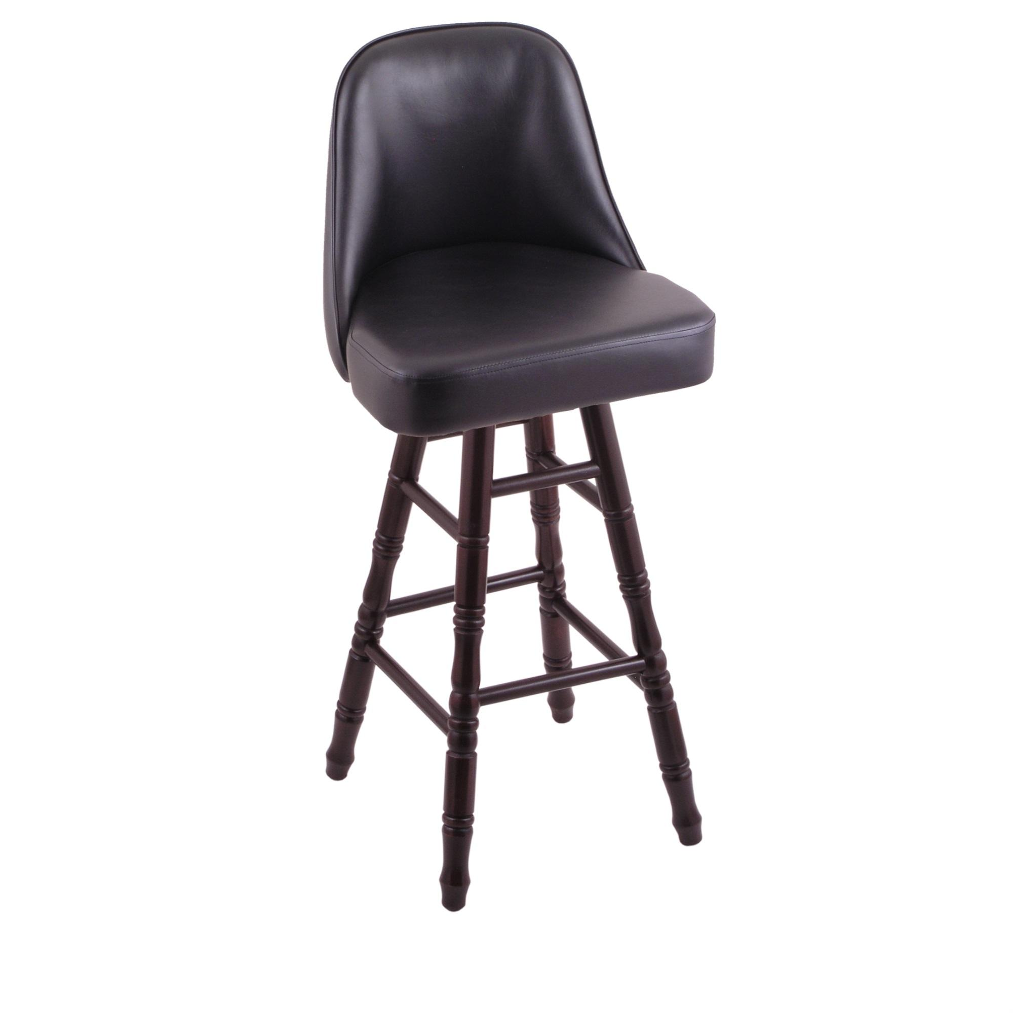 Grizzly Bar Stool with Turned Maple Legs, Dark Cherry Finish, and 360 Swivel