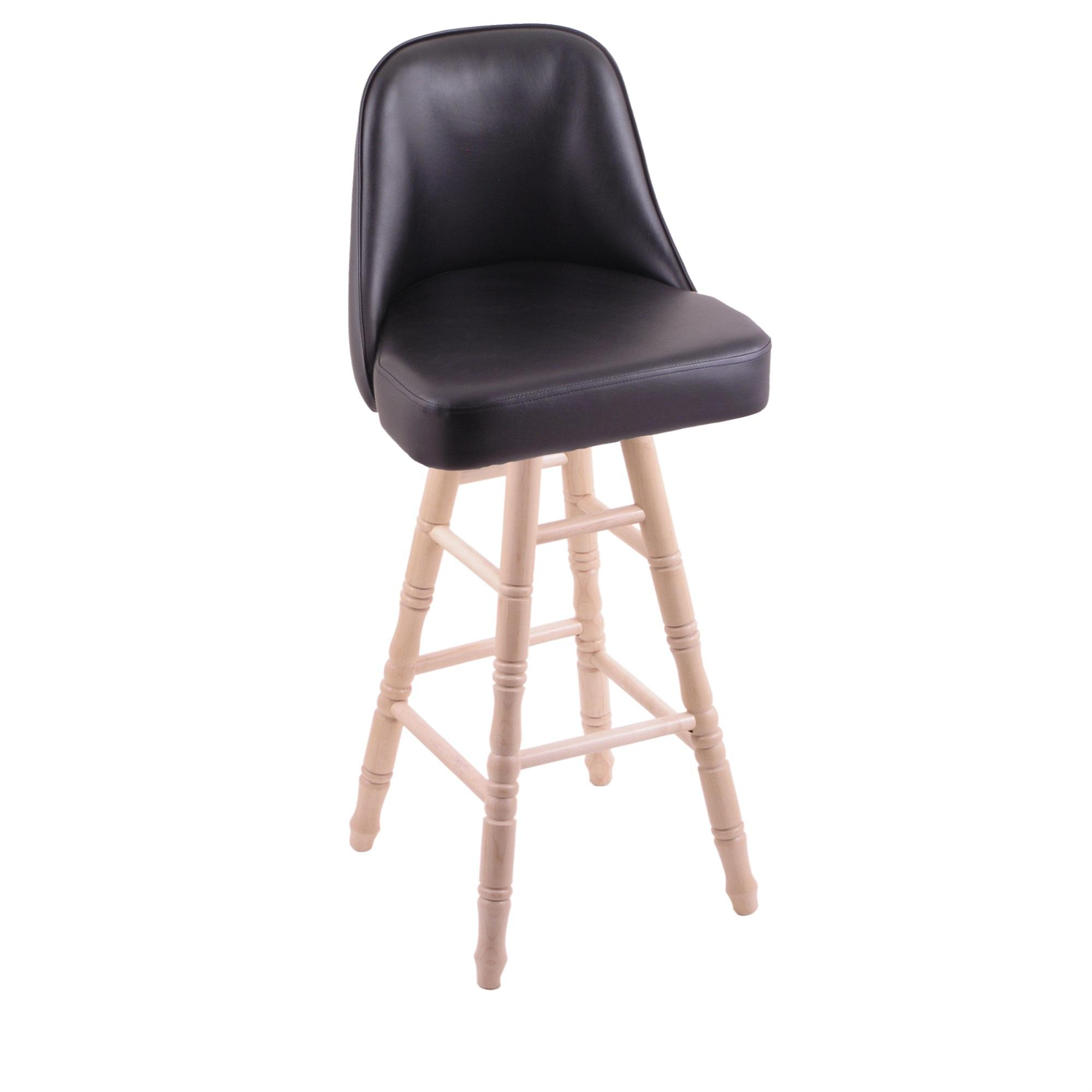 Grizzly Bar Stool with Turned Maple Legs, Natural Finish, and 360 Swivel
