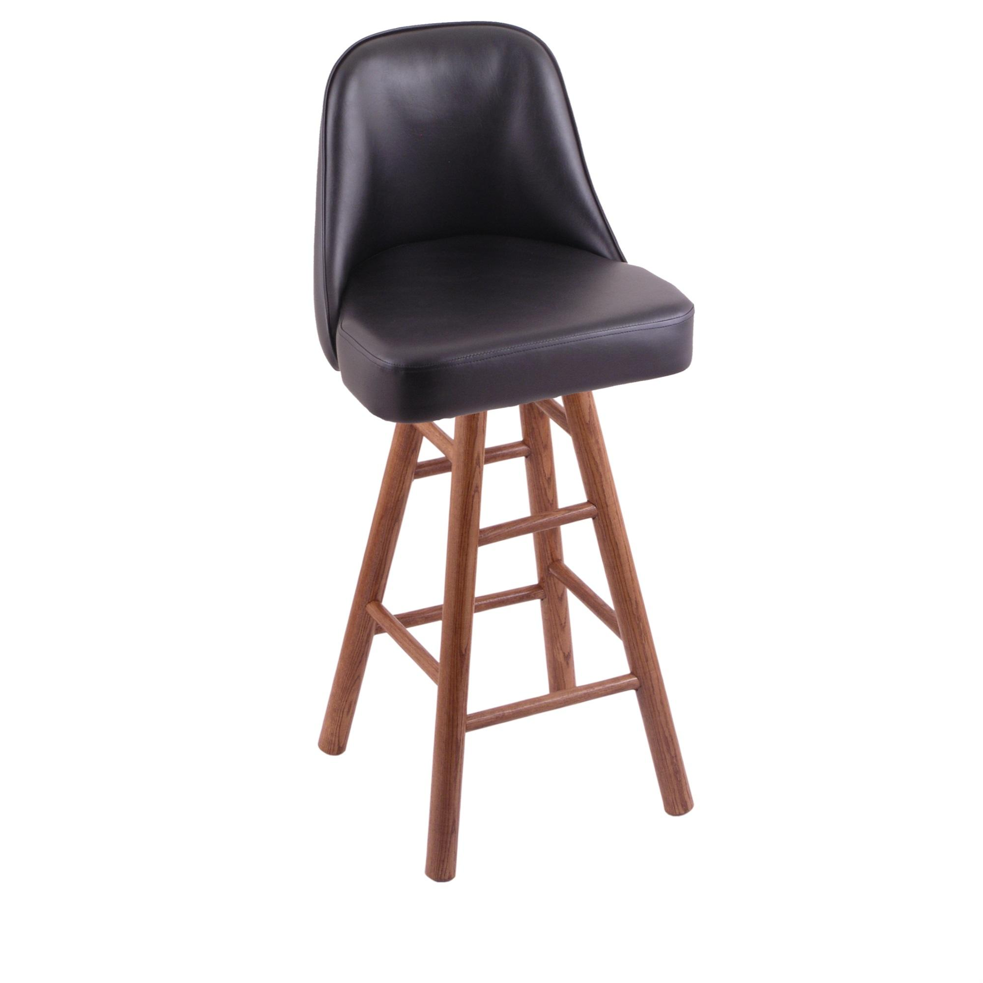 Grizzly Bar Stool with Smooth Oak Legs, Medium Finish, and 360 Swivel