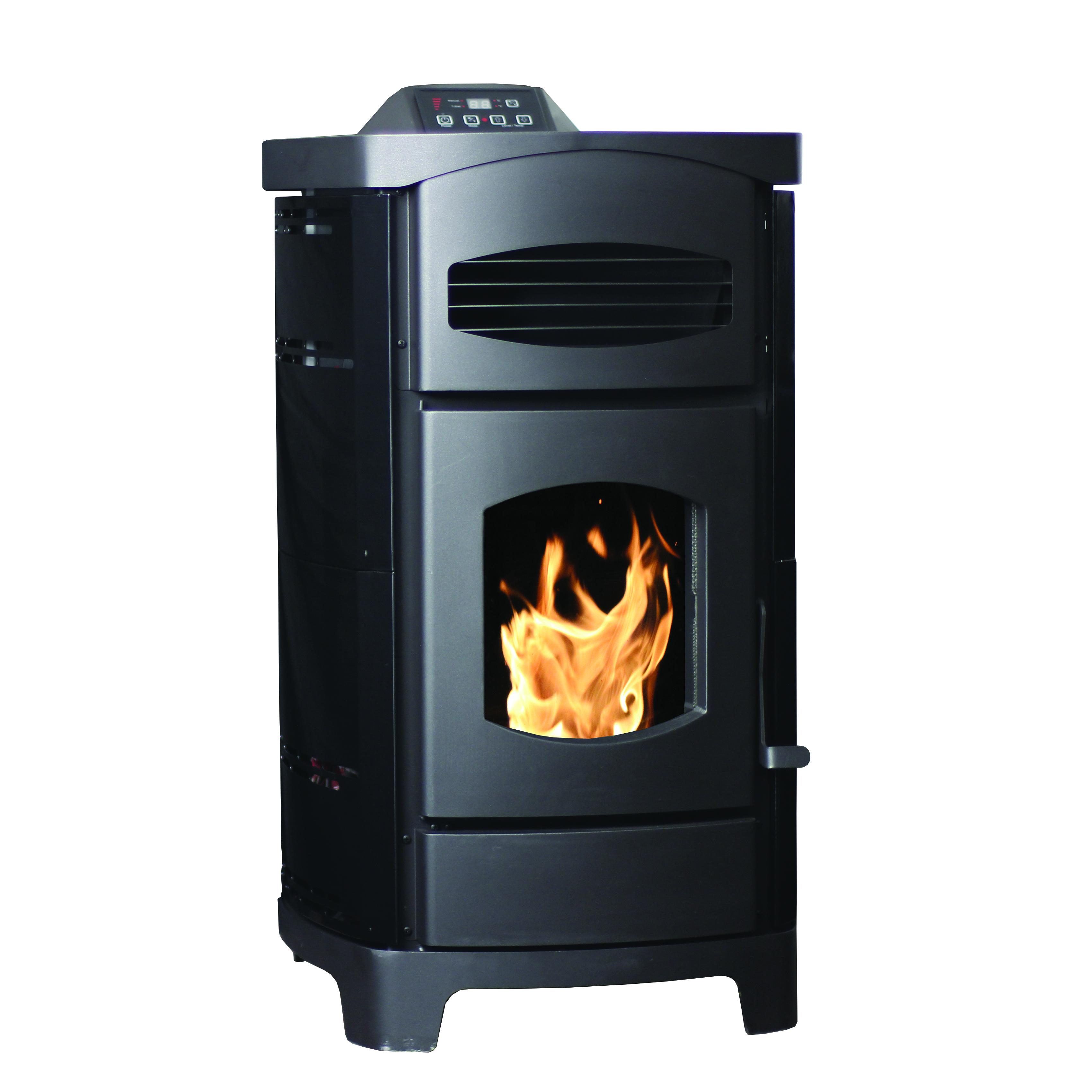 2,200 Sq. Ft. EPA Certified Pellet Stove with Gloss Black Curved Sides