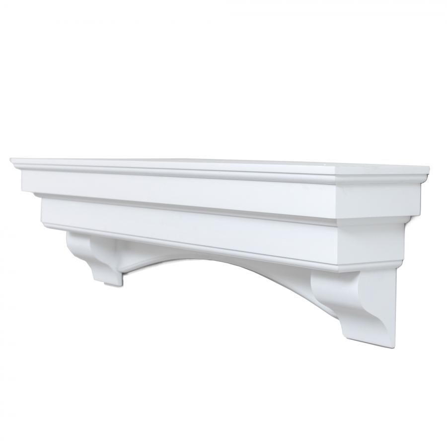 60 In. x 10 In. Traditional Hearth Mantel in Smooth White Finish