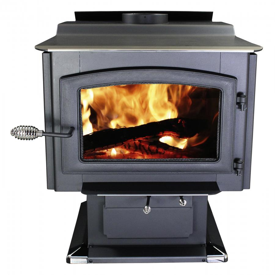 Ashley Hearth Products AW3200E-P 3,200 Sq. Ft. EPA Certified Large Pedestal Wood Burning Stove with Blower