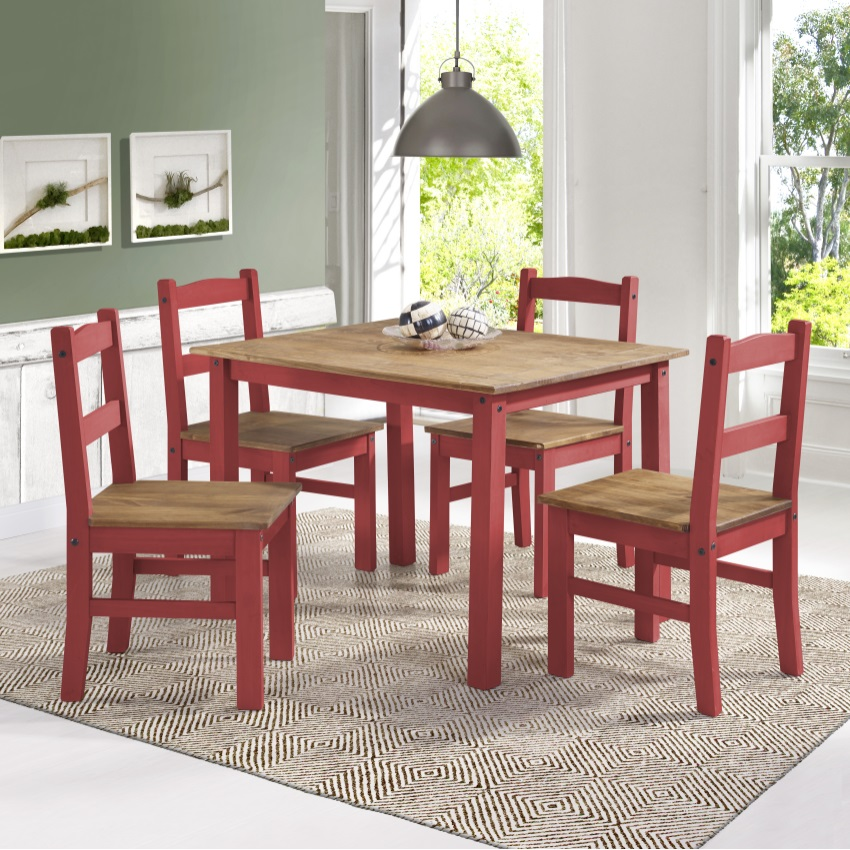 york 5piece solid wood dining set with 1 table and 4