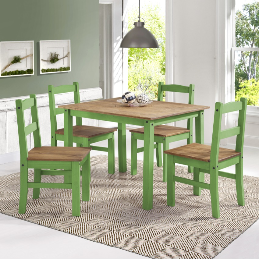 York 5-Piece Solid Wood Dining Set With 1 Table And 4