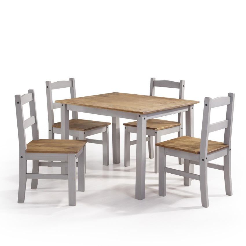 Solid Wood Dining Table 4 Chairs: York 5-Piece Solid Wood Dining Set With 1 Table And 4