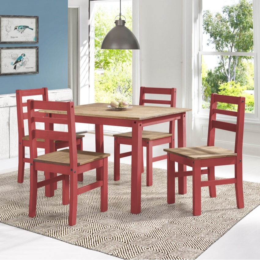 Maiden 5 Piece Solid Wood Dining Set With 1 Table And 4