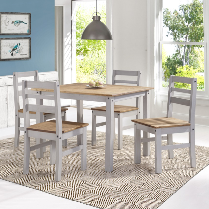 Solid Wood Dining Table 4 Chairs: Maiden 5-Piece Solid Wood Dining Set With 1 Table And 4